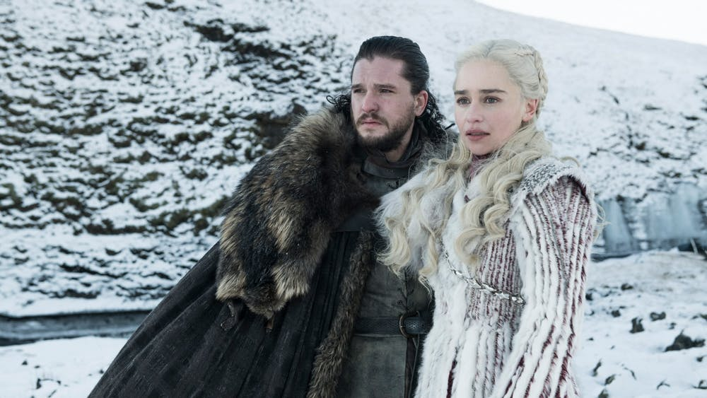 "Jon Snow, played by Kit Harington, and Daenerys Targaryen, played by Emilia Clarke, stand alongside one another in a scene from ""Game of Thrones."""