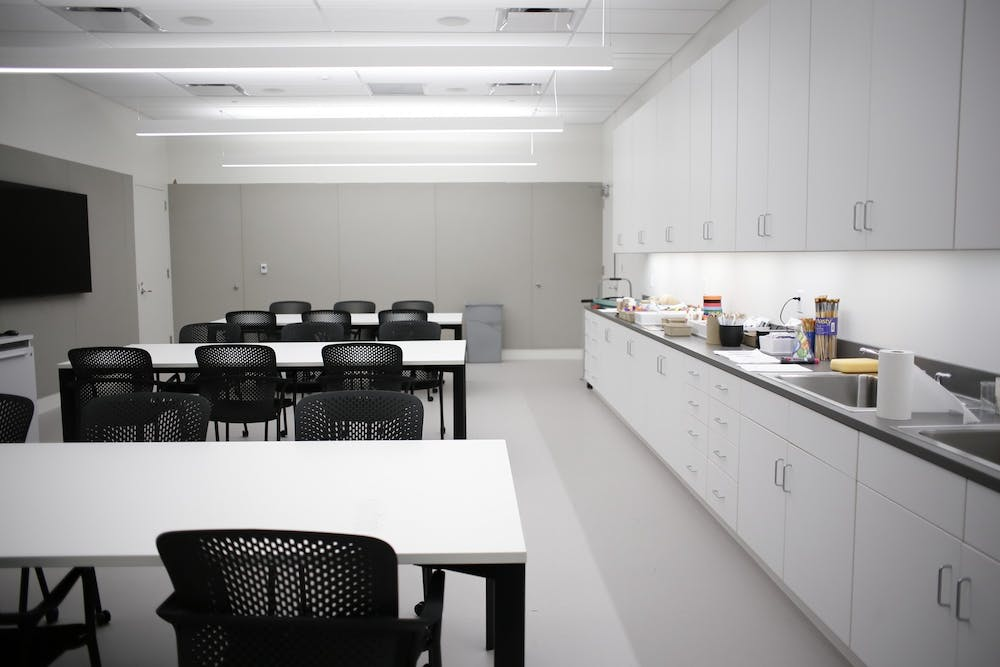 <p>An art therapy room sits empty inside the Sidney and Lois Eskenazi Museum of Art. The museum is offering virtual group art therapy in place of in-person sessions after the museum was closed to the public on March 10.</p>