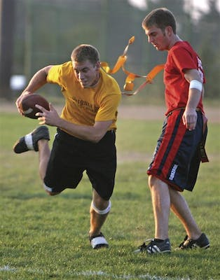 Students participate in many intramural sports including flag football.