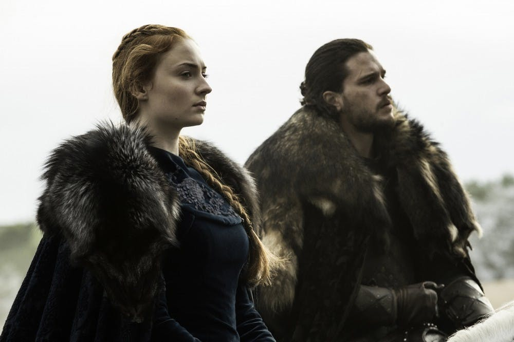 """<p>Sophie Turner and Kit Harington as Sansa Stark and Jon Snow in season six of """"Game of Thrones,"""" which received the most nominations of any show this year with 23, including Outstanding Drama Series.&nbsp;</p>"""
