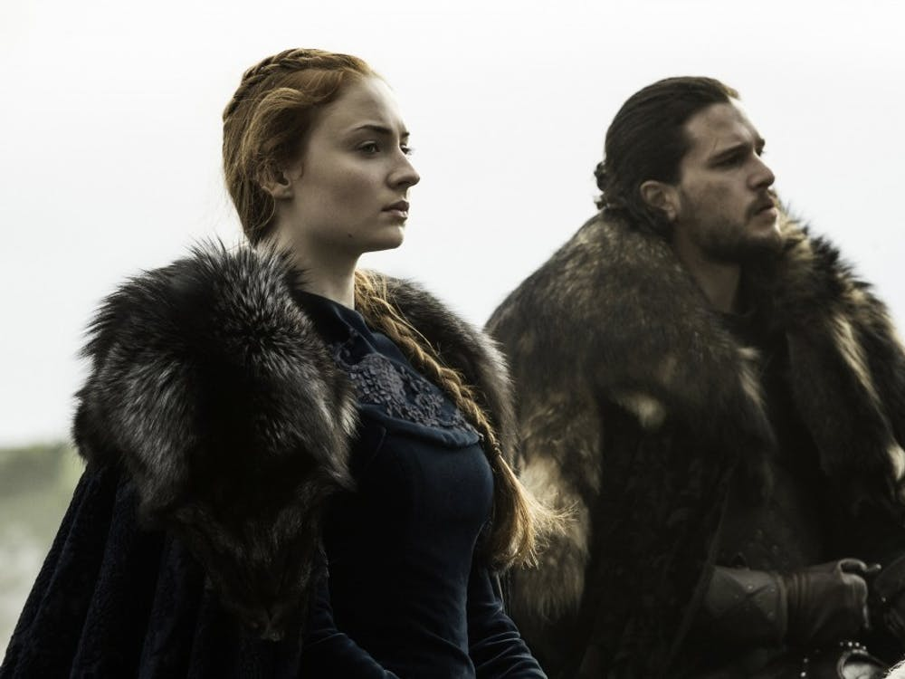 """Sophie Turner and Kit Harington as Sansa Stark and Jon Snow in season six of """"Game of Thrones,"""" which received the most nominations of any show this year with 23, including Outstanding Drama Series."""