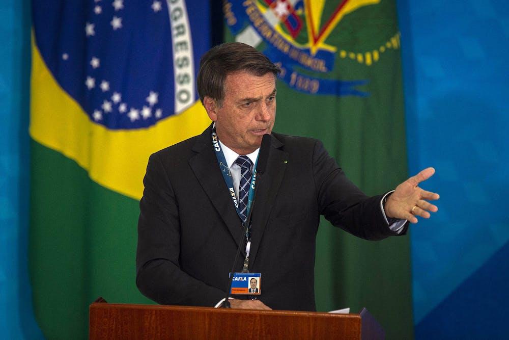 <p>Brazil&#x27;s President Jair Bolsonaro speaks on Aug. 20 in Brasilia, Brazil.</p>