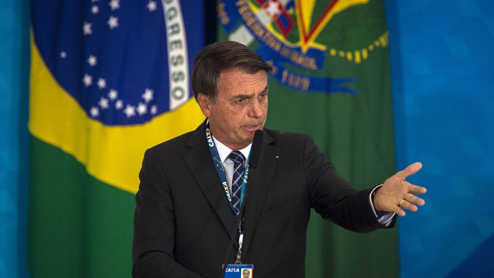 Brazil's President Jair Bolsonaro speaks on Aug. 20 in Brasilia, Brazil.