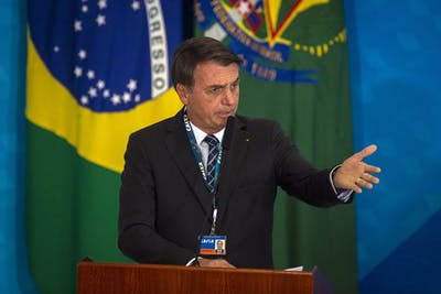 Brazil's President Jair Bolsonaro speaks on Aug. 20 in Brasilia, Brazil.