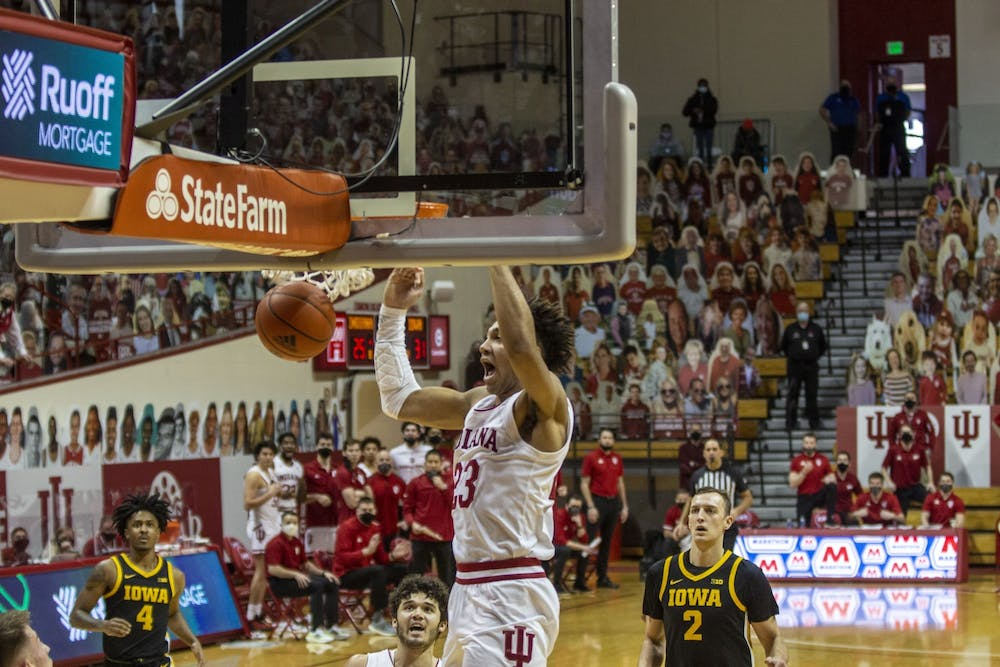 <p>Sophomore forward Trayce Jackson-Davis dunks the basketball after a fastbreak late in the first half Feb. 7 at Simon Skjodt Assembly Hall. IU men&#x27;s basketball will play Rutgers on Wednesday in Piscataway, New Jersey.</p>
