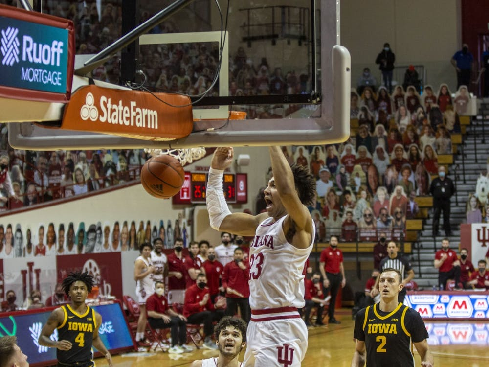 Sophomore forward Trayce Jackson-Davis dunks the basketball after a fastbreak late in the first half Feb. 7 at Simon Skjodt Assembly Hall. IU men's basketball will play Rutgers on Wednesday in Piscataway, New Jersey.