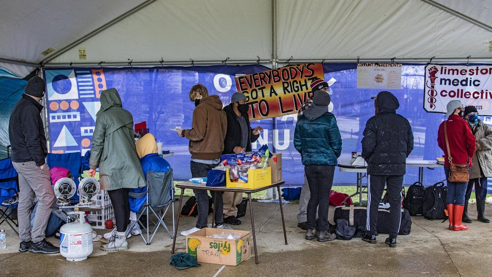 People gather together for March To End The Madness on March 18 in Dunn Meadow. Demonstrators gathered in solidarity with the city's unhoused community.