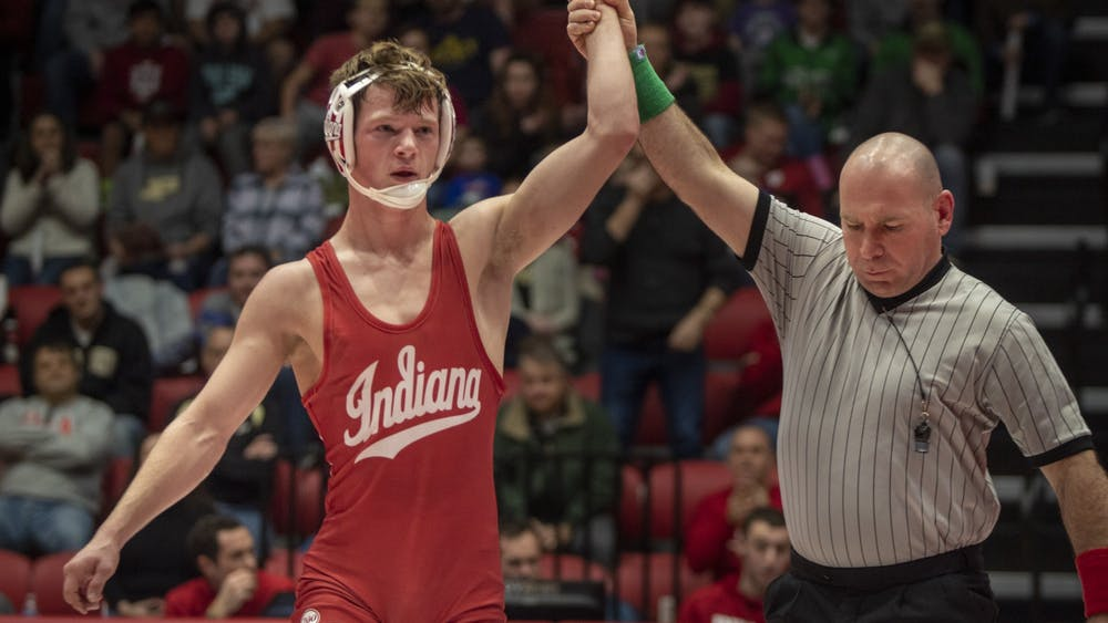 Then-redshirt freshman Graham Rooks is named winner of a match Jan. 20, 2020, in Wilkinson Hall. Rooks was one of four Hoosiers named in InterMat's preseason rankings.