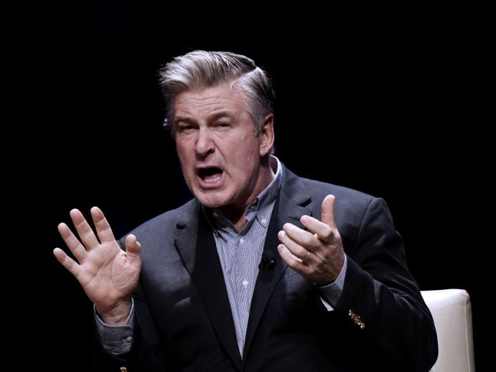 """America's foremost Donald Trump impersonator, Alec Baldwin, speaks during an event to discuss the book """"You Can't Spell America Without Me,"""" a political satire of Trump's presidential memoir."""