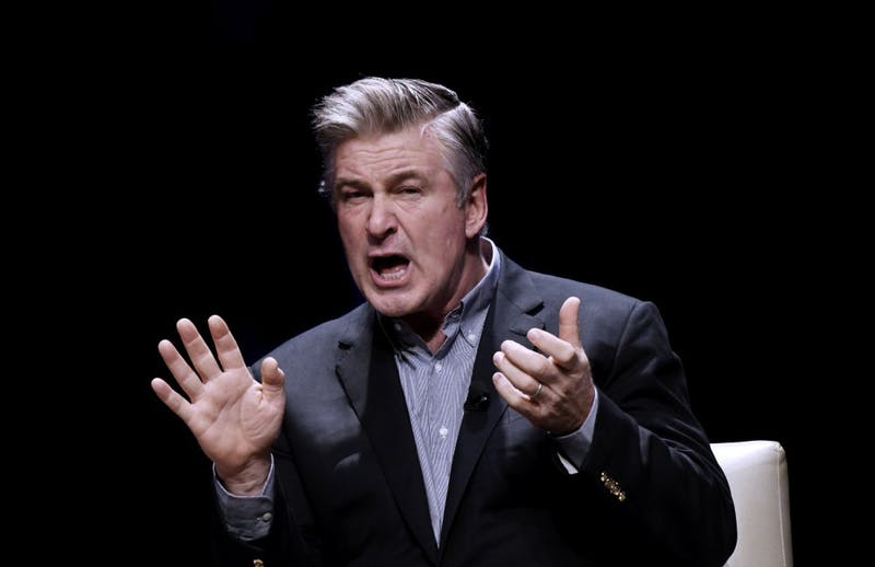 "America's foremost Donald Trump impersonator, Alec Baldwin, speaks during an event to discuss the book ""You Can't Spell America Without Me,"" a political satire of Trump's presidential memoir."