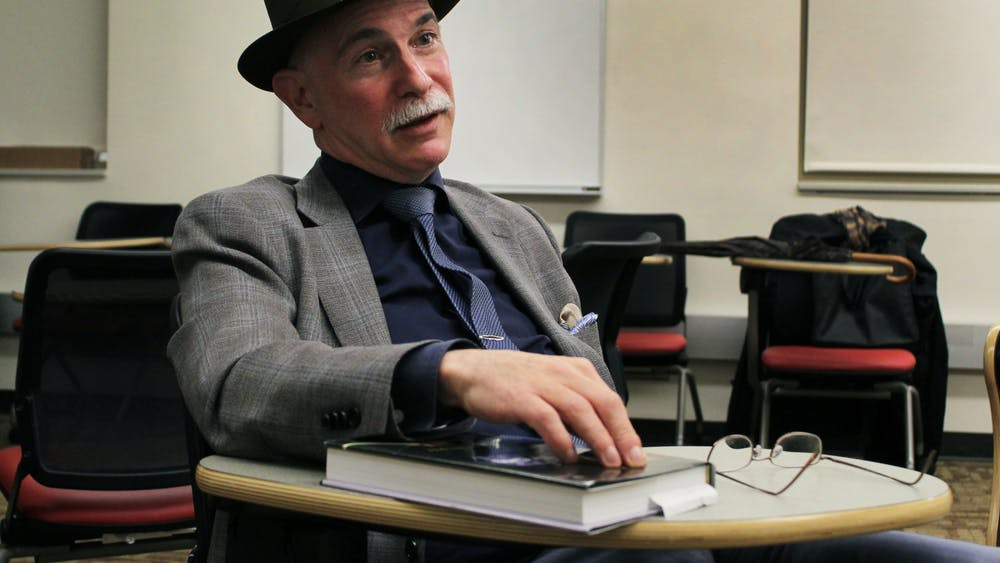 "Mark Stryker, arts reporter and critic for the Detroit Free Press, explains the importance of reading during a talk Oct. 29 in Franklin Hall. He recently published the book, ""Jazz from Detroit,"" and has covered the arts for several news publications."