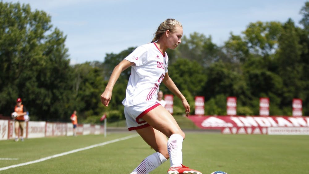 Freshman Jaimie Tottleben passes the ball in an attempt to score a goal Aug. 25 at Bill Armstrong Stadium. IU will play Illinois on Thursday.