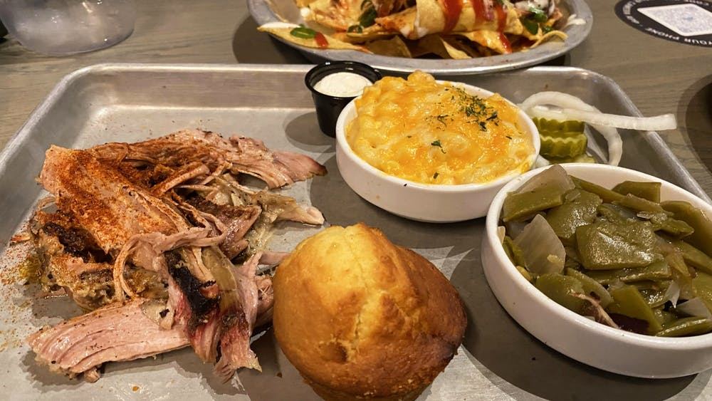 A SmokeWorks meal is pictured March 10. The restaurant is located at 121 N. College Ave.