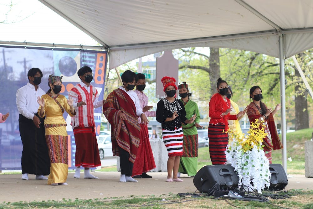 BACI Unity Dance performs April 18 in Dunn Meadow. Different students performed and spoke during the Myanmar Student Association Cultural Festival on Sunday afternoon.