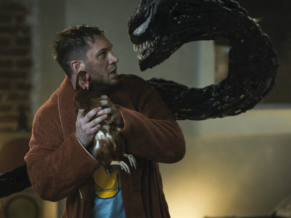 """Actor Tom Hardy stars in the 2021 film """"Venom: Let There Be Carnage."""""""