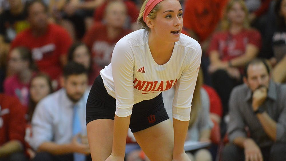 Senior Taylor Lebo prepares for the ball to go into play in the game against Purdue on Oct. 7. The Hoosiers lost 0-3.