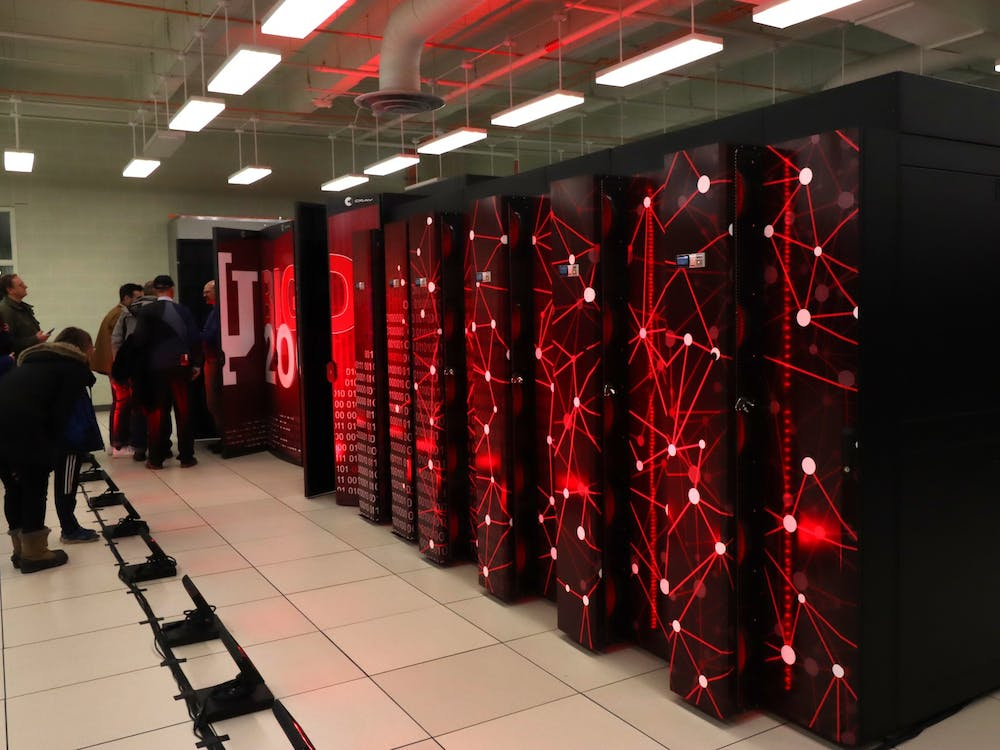 Visitors examine the Big Red 200 Supercomputer on Jan. 20, 2020, in the Cyberinfrastructure Building. IU's super computers are used to model hypersonic research.