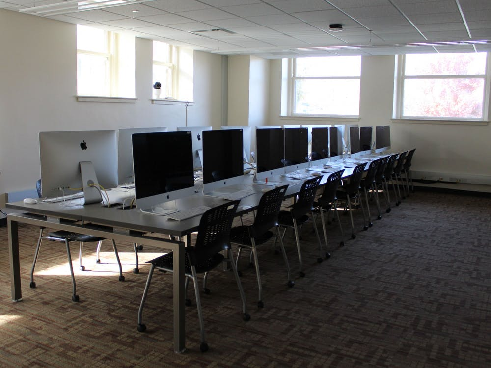 Computers are lined up in a row Nov. 8 in Franklin Hall. A power outage has affected several areas of campus.