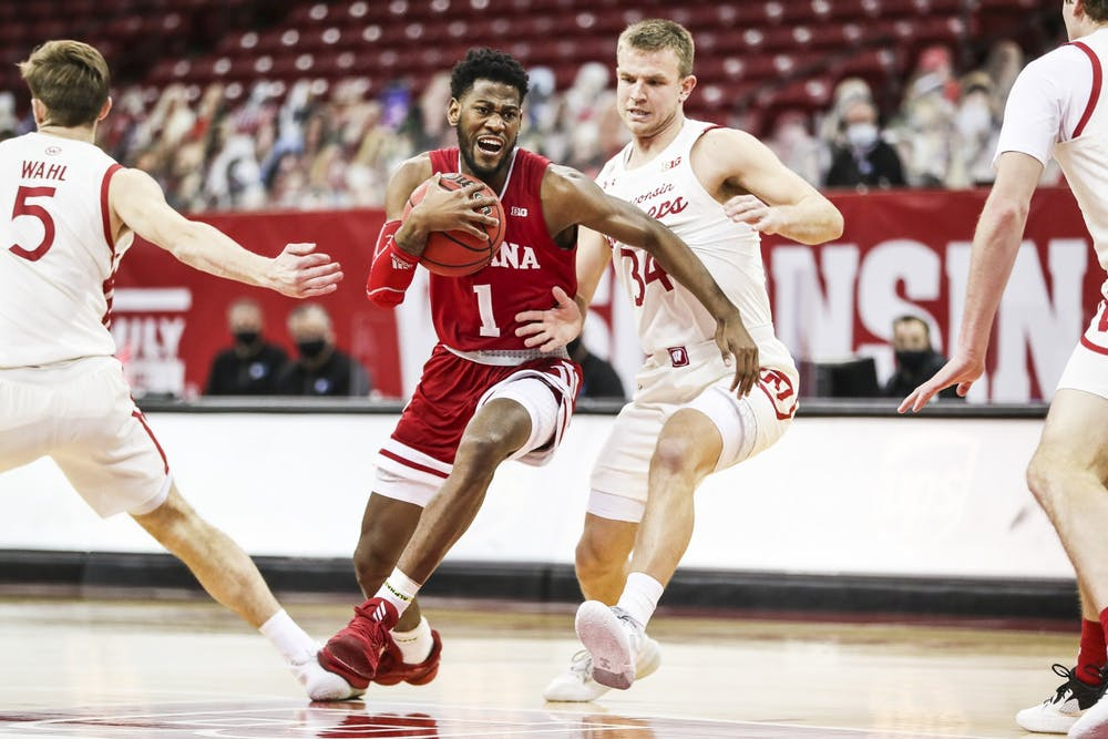 <p>Senior guard Aljami Durham guards the ball Jan. 7 at the Kohl Center in Madison, Wisconsin. Durham scored 15 points against the Wisconsin Badgers. </p>