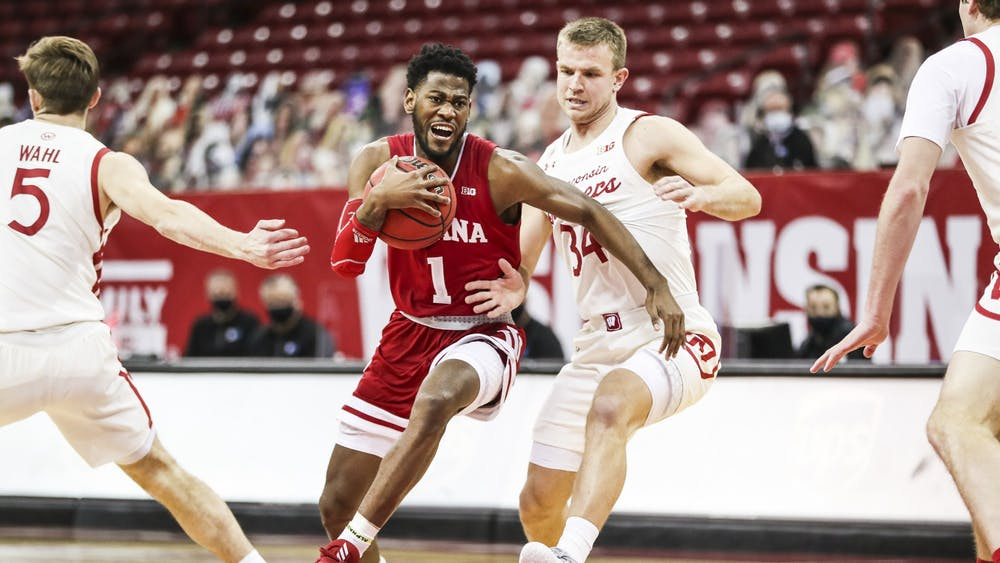Senior guard Aljami Durham guards the ball Jan. 7 at the Kohl Center in Madison, Wisconsin. Durham scored 15 points against the Wisconsin Badgers.