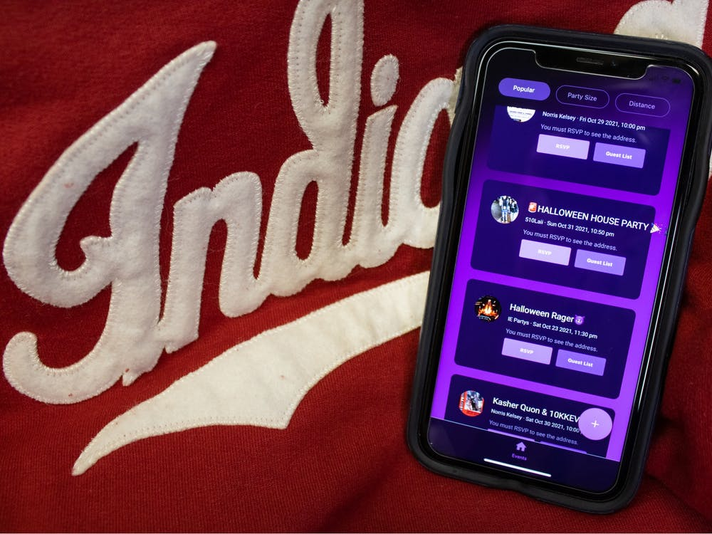 Poppin, an app launched in part by an IU freshman, is seen on a phone Oct. 24, 2021. The app aims to make parties safer by providing a system to RSVP for events and report any incidents to a party's host.