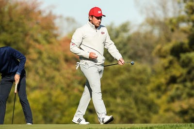 Brock Ochsenreiter walks after hitting the ball Tuesday at the Crooked Stick Invitational at Crooked Stick Golf Course in Carmel, Indiana. Ochsenreiter shot one under par Tuesday, a score beat by only one other player in the tournament.