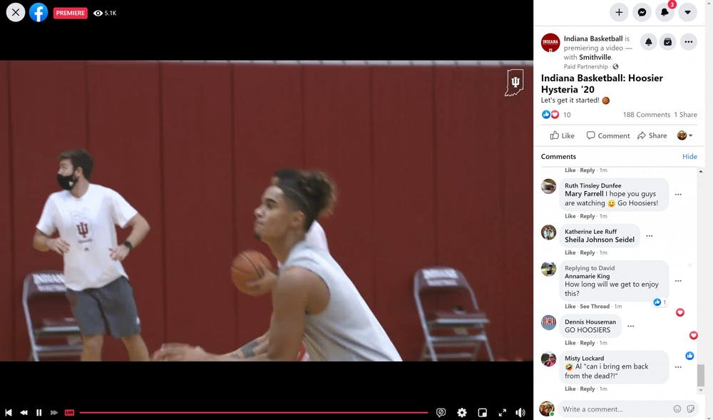 <p>A screen grab from the IU men&#x27;s basketball Hoosier Hysteria on Facebook Live.</p>