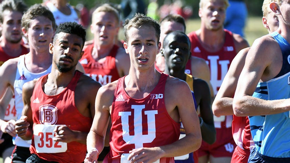 Then-sophomore, now junior Kyle Mau runs in the Sam Bell Invitational on Sept. 30, 2017 at the IU cross-country course. Mau finished 49th in the NCAA National Championship race this season.