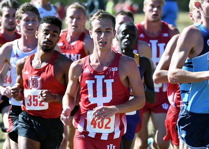 Then-sophomore, now junior Kyle Mau runs in the Sam Bell Invitational on Sept. 30, 2017 at the IU cross-country course. The IU men's cross-country team finished in fifth at the Bradley Pink Classic and eighth at Pre Nationals.