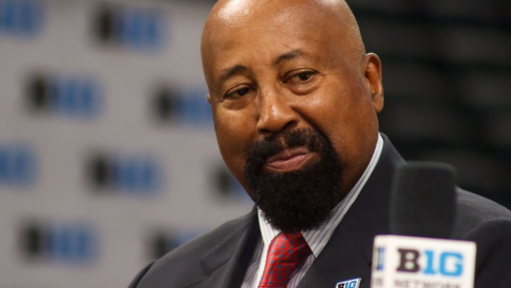 Indiana men's basketball head coach Mike Woodson smiles Oct. 8, 2021, at Gainbridge Fieldhouse in Indianapolis. Woodson is beginning his first season in his position as head coach at Indiana.