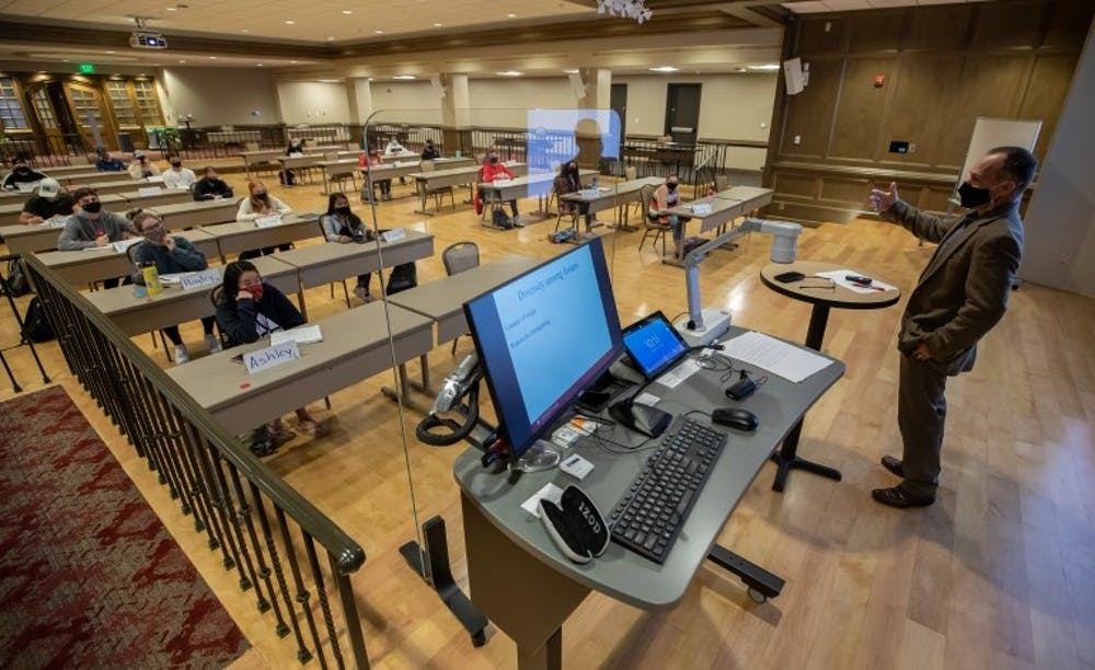 <p>Rooms in the Indiana Memorial Union have been turned into classrooms in order to maintain safety during in-person instruction. IU will have in-person classes in fall 2021.</p>
