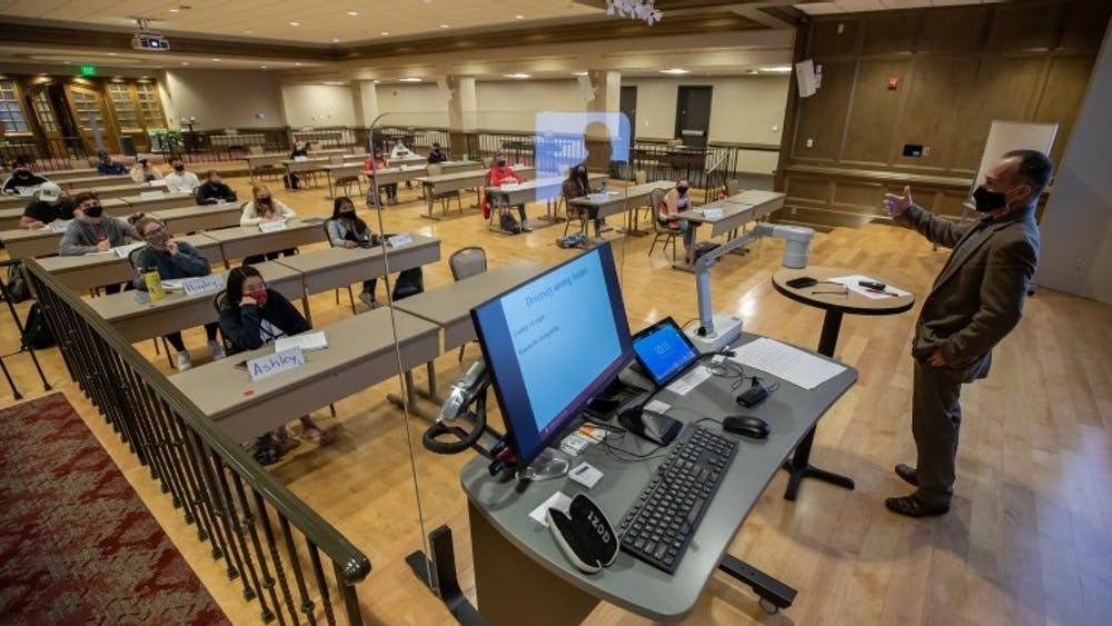 Rooms in the Indiana Memorial Union have been turned into classrooms in order to maintain safety during in-person instruction. IU will have in-person classes in fall 2021.