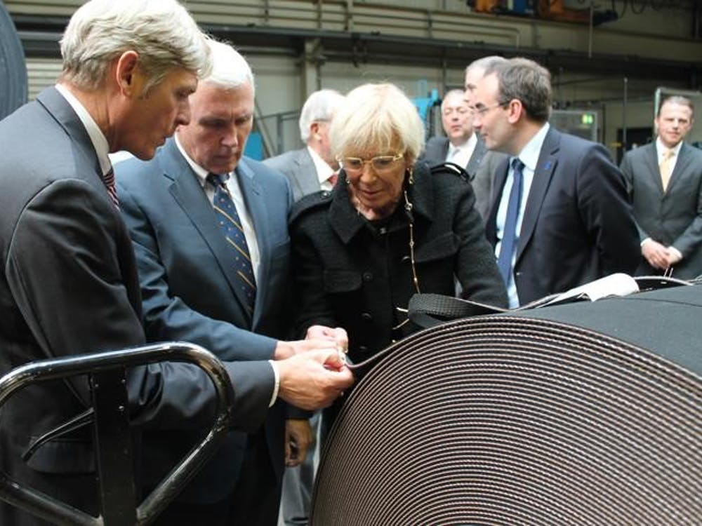 Governor Mike Pence meets with executives from the Jäger Group Wednesday in Hanover, Germany. Executives met to announce the company's plans to expand a subsidary to La Porte, Ind., which is slated to create up to 52 new jobs by 2016.