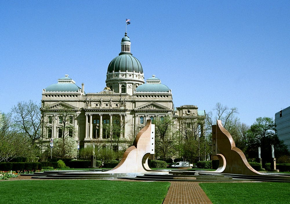 The Indiana Statehouse is located in downtown Indianapolis. The Indiana Senate recently overrode Gov. Eric Holcomb's veto of landlord-friendly legislation.