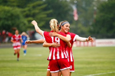 Then-junior, now senior Chandra Davidson hugs then-senior Abby Allen after a goal against the University of Kentucky on Sept. 7, 2018, at Bill Armstrong Stadium. Erwin van Bennekom will be the new head coach for the IU women's soccer team.
