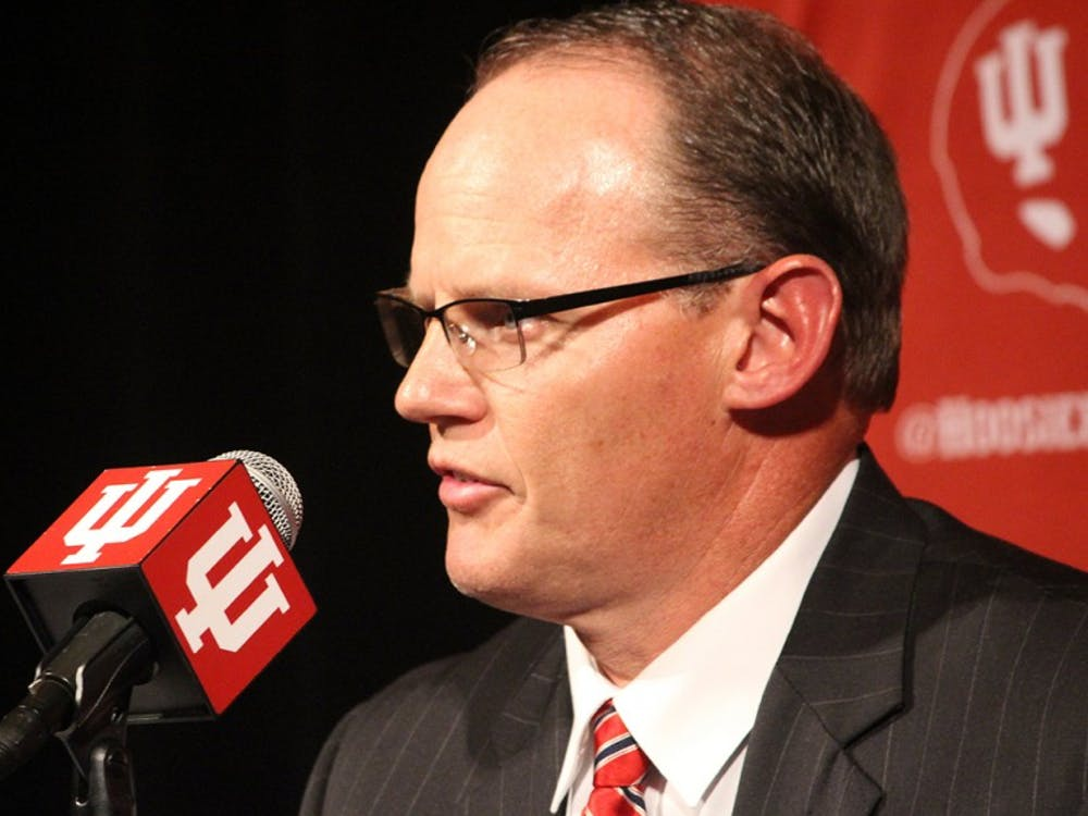 Tom Allen talks in front of the media Wednesday night following Kevin Wilson's resignation from the football program. Allen who was hired as the defensive coordinator for this season will take over as head coach immediately and Glass said he will earn a six-year contract with details to be finalized later.