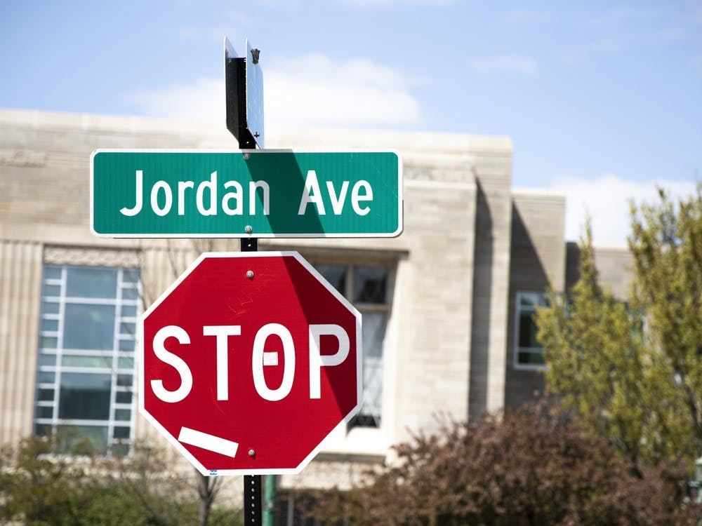 A street sign for Jordan Avenue is seen April 22, 2021. A City of Bloomington task force approved renaming Jordan Avenue to Eagleson Avenue Monday.