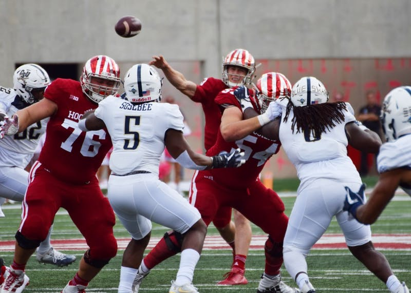 Sophomore quarterback Peyton Ramsey throws the ball towards the goal line during the first quarter of the game against Charleston Southern on Oct. 7. IU will look to win its first Big Ten game this Saturday at Maryland.