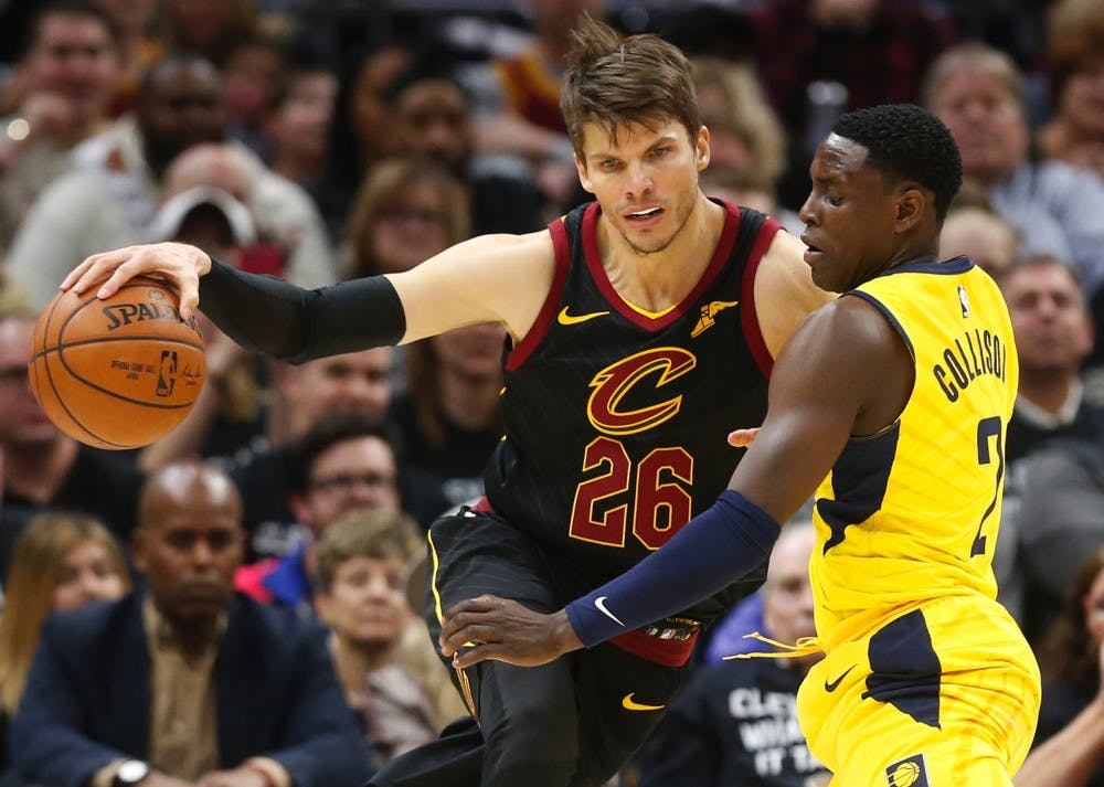 0f4ff23ef Cleveland Cavaliers guard Kyle Korver is defended by Indiana Pacers guard  Darren Collison in the first quarter of Game 7 during the Eastern  Conference First ...