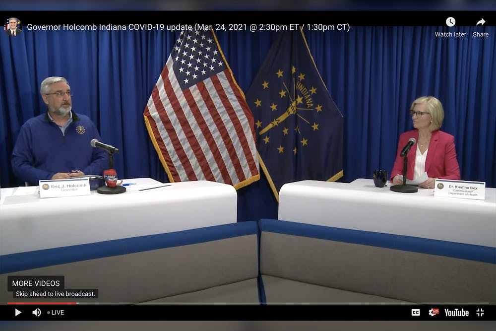 <p>A screenshot shows Gov. Eric Holcomb and state health commissioner Dr. Kristina Box having a discussion Wednesday in the weekly Indiana COVID-19 briefing over Zoom. More than 1 million Hoosiers have already received the COVID-19 vaccine.</p>