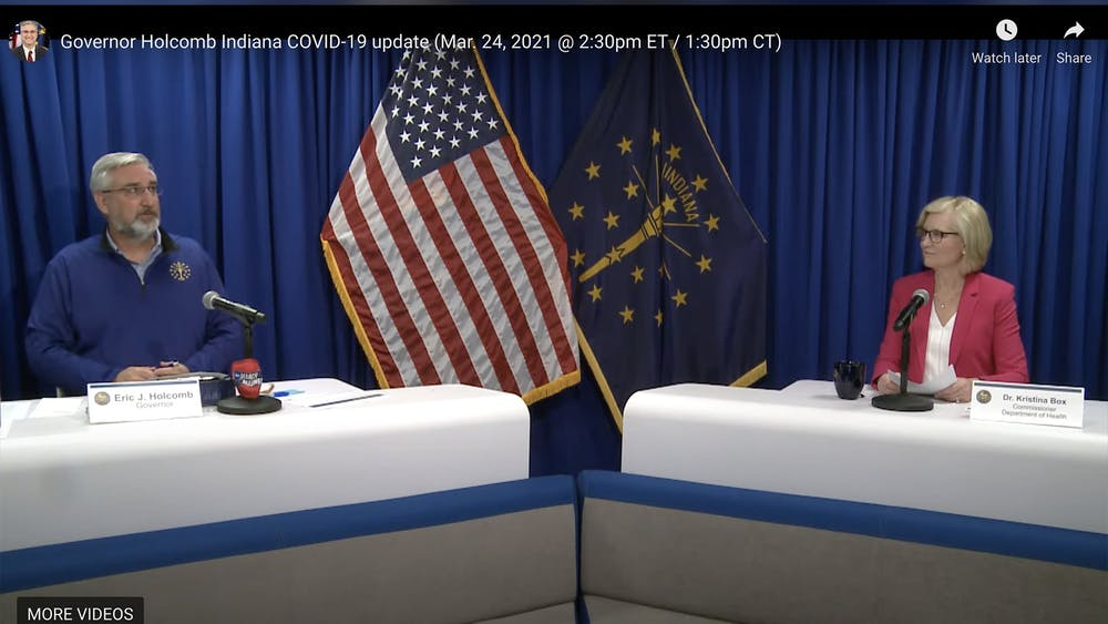 A screenshot shows Gov. Eric Holcomb and state health commissioner Dr. Kristina Box having a discussion Wednesday in the weekly Indiana COVID-19 briefing over Zoom. More than 1 million Hoosiers have already received the COVID-19 vaccine.