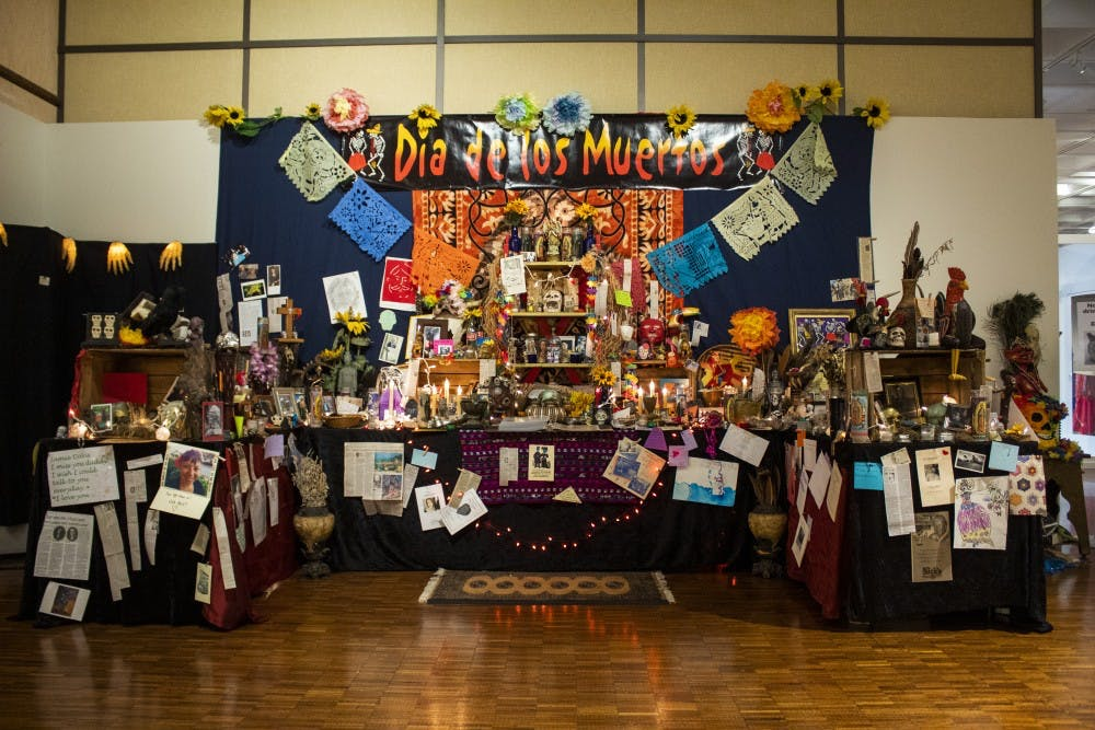<p>The Dia De Los Muertos altar stands Oct. 15. in the Mathers Museum. The altar was decorated by members of the Bloomington community.</p><p></p>