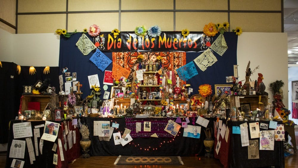 The Dia De Los Muertos altar stands Oct. 15. in the Mathers Museum. The altar was decorated by members of the Bloomington community.