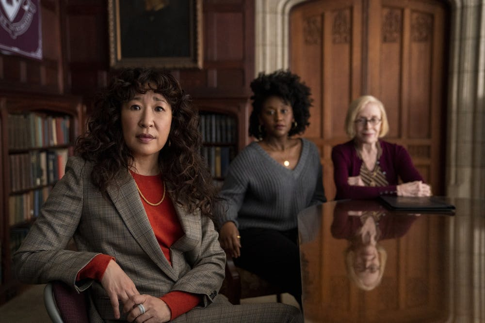 <p>Sandra Oh, Nana Mensah and Holland Taylor pose seated for their show, &quot;The Chair.&quot; The show  premiered to Netflix audiences Aug. 20, 2021.</p>