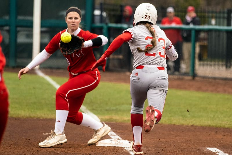 Senior Gabbi Jenkins runs to first base and was called safe by the umpire March 10 at Andy Mohr Field. IU will compete in The Spring Games Thursday through Saturday in Madeira Beach, Florida.