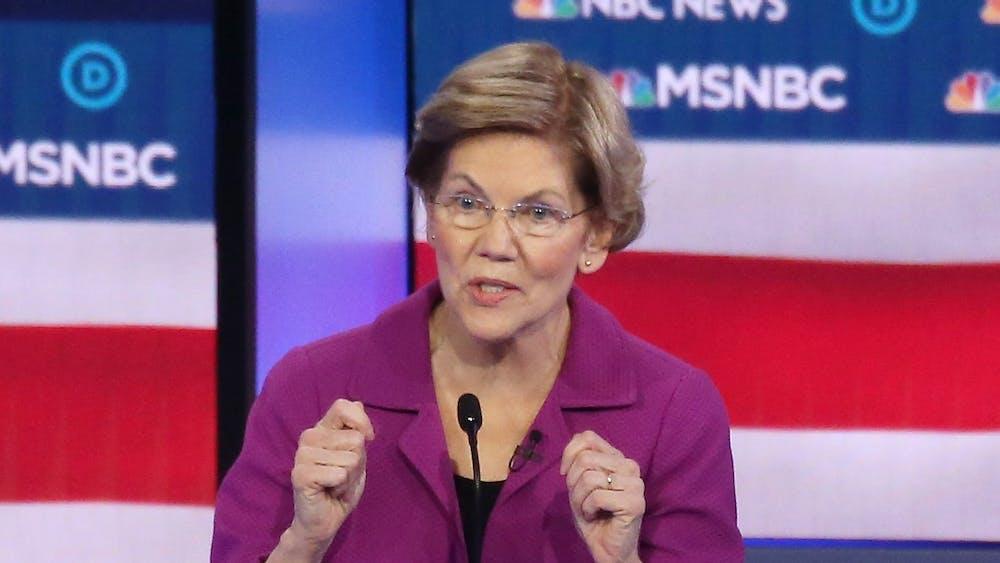 Democratic presidential candidate Sen. Elizabeth Warren, D-Mass., speaks during the Democratic presidential primary debate Feb. 19 in Las Vegas, Nevada.