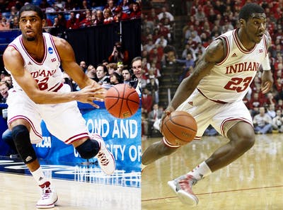 At left, then-junior guard Maurice Creek handles the ball during IU's 83-62 win against James Madison on March 22, 2013, at the University of Dayton Arena. At right, then-sophomore Remy Abell runs toward the basket against Penn State on Jan. 23, 2013, at Assembly Hall. The Hoosiers won 72-49. Creek and Abell are both playing for Sideline Cancer in this year's the Basketball Tournament.