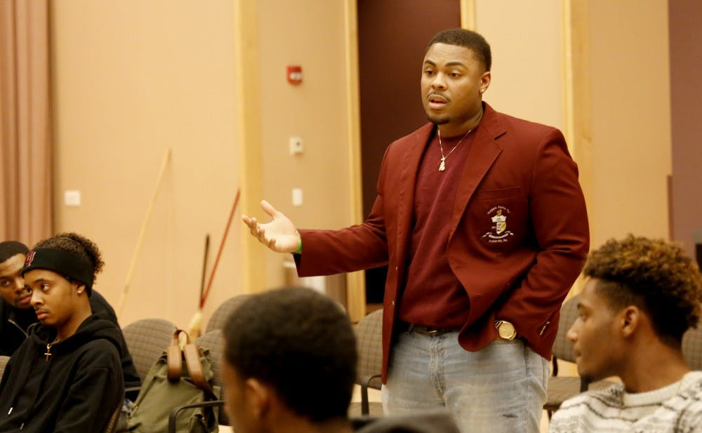 Brandon Washington, alumni of Kappa Alpha Psi addressed how the African-American community should be united Tuesday, March 1, 2016 at the Neal-Marshall Black Culture Center. Kappa Alpha Psi hosted the event to address minority issues on the campus and provide haircuts for students.