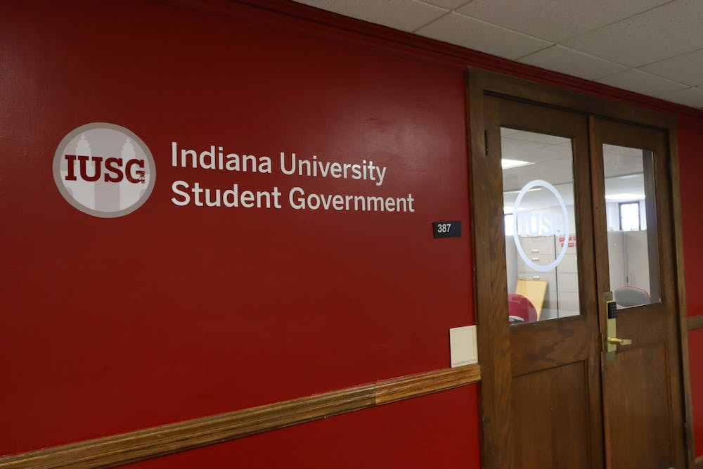 <p>The sign outside the IU Student Government office shows the IUSG logo on Sept. 24, 2020. A callout meeting for students interested in running for executive offices in IUSG will be at 7:30 p.m. Thursday.</p>