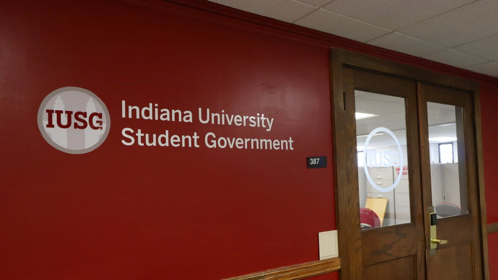 The sign outside the IU Student Government office shows the IUSG logo on Sept. 24, 2020. A callout meeting for students interested in running for executive offices in IUSG will be at 7:30 p.m. Thursday.